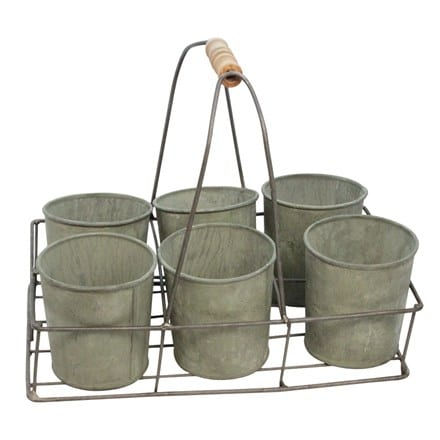 Verdigree tin pots in trug