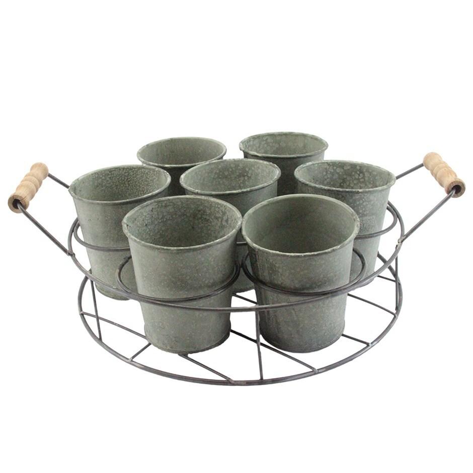 Verdigree tin pots in round trug