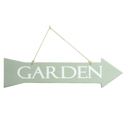 Distressed wooden garden arrow sign