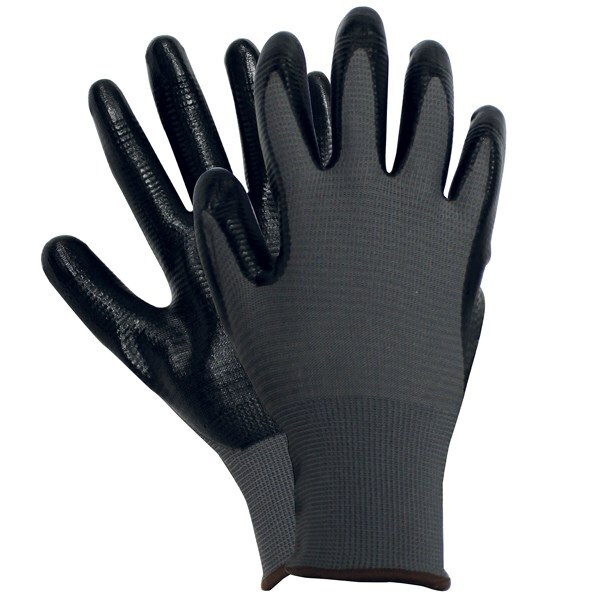 Ribbed nitrile gloves black