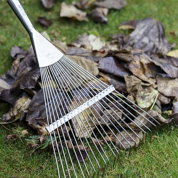 RHS Burgon and Ball stainless steel flexi-tined lawn rake