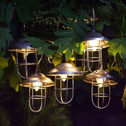 10 solar galvanised metal lanterns