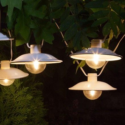 10 solar white saucer lanterns