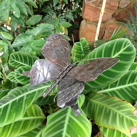 Metal butterfly plant stake