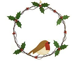 Holly wreath with robin