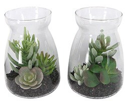 Artificial succulent medley in glass vase