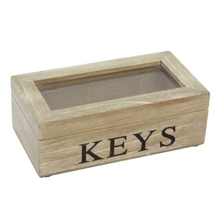 Natural wood keys glass lid box