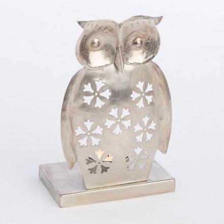 Metal owl tealight holder