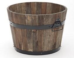 Burnt finish rustic barrel