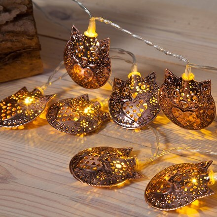 Copper metal owls LED lights