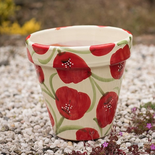 Poppy glazed planter