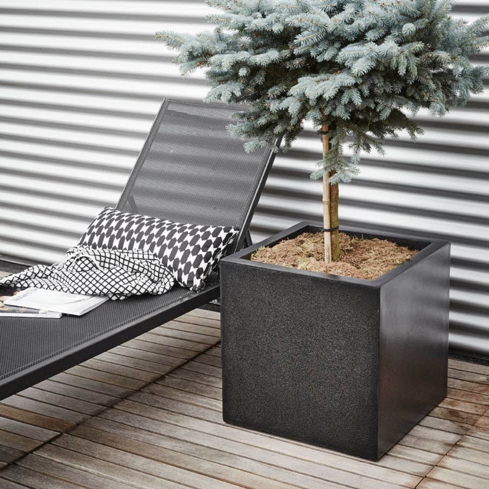 Cadix black square planter