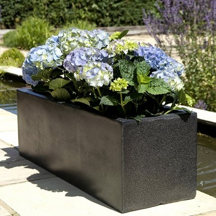 Black low rectangular planter
