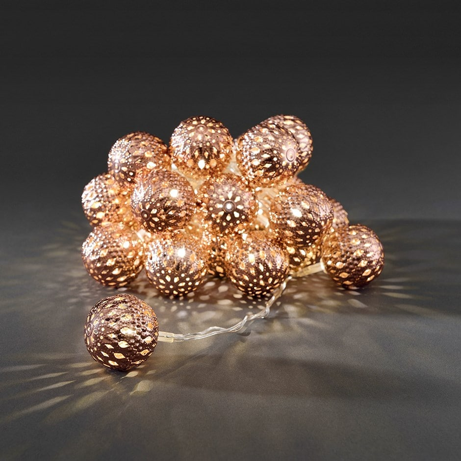 Metal ball light set - copper