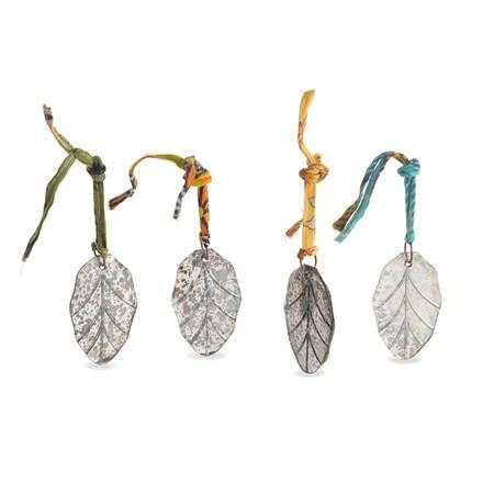 Antique mirror leaf bauble - set of 4