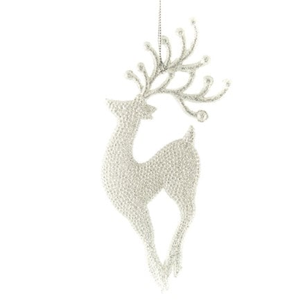 Pale silver glitter reindeer decoration