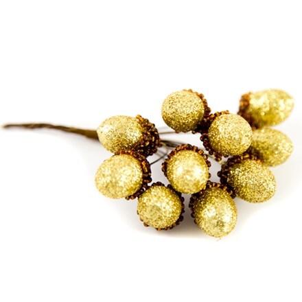 Glitter acorn pick bunch - gold