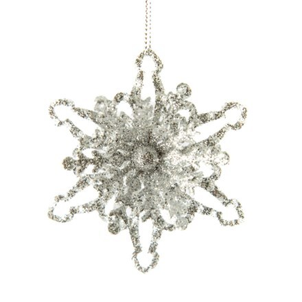 Silver glitter tin 3D snowflake