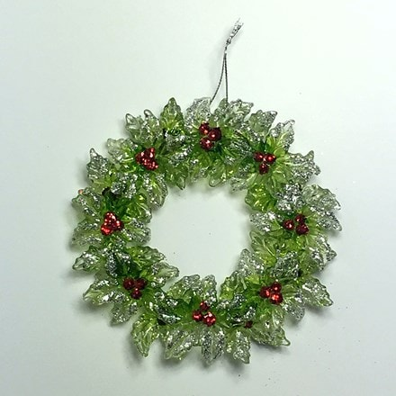 Small acrylic holly wreath decoration