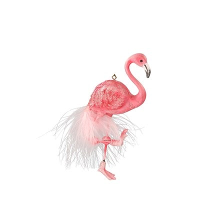 Pink resin/feather flamingo decoration