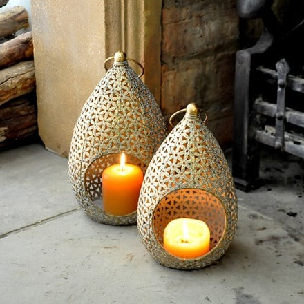 Large gold teardrop lantern