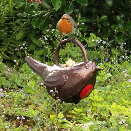 Ornamental watering can - baby robin