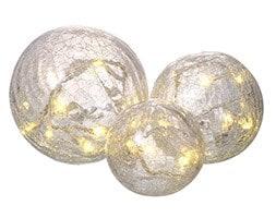 Crackle ball decoration set of 3