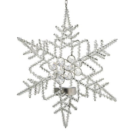 Hanging snowflake tea light holder