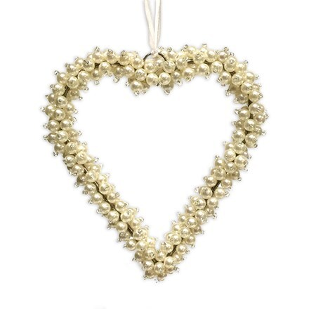 Pearl beaded heart hanging decoration