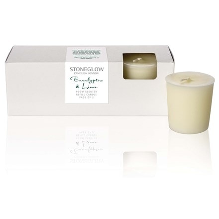 Eucalyptus and lime refill candles set of 3