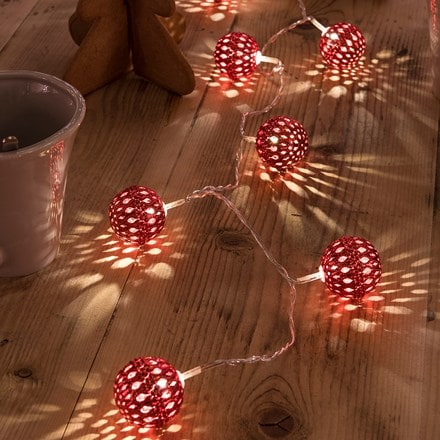 Metal ball light set - red