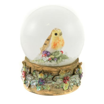 Medium dome snowglobe - robin