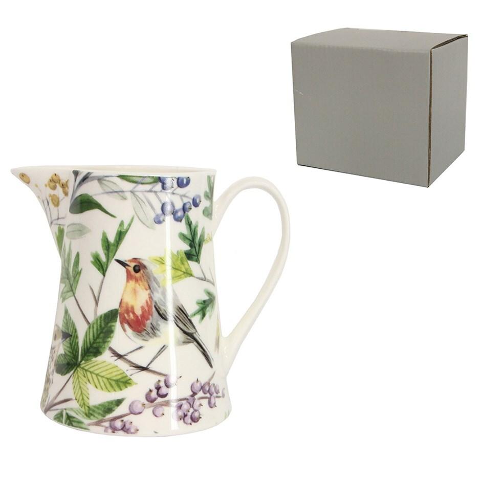 Garden birds ceramic jug