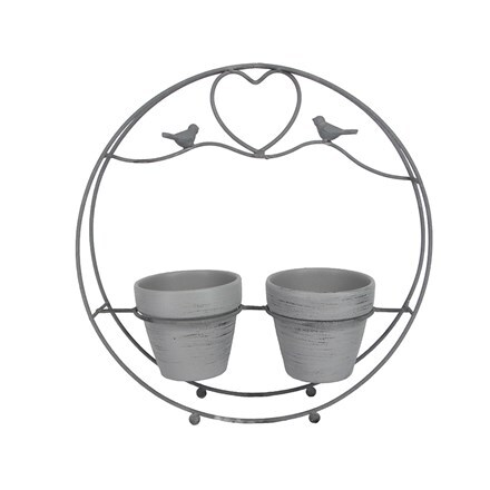 Grey twin pot round wire bird caddy