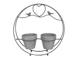 Grey twin pot round wire bird caddy
