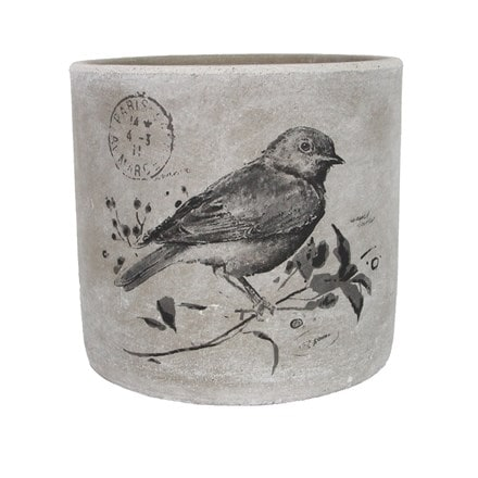 Bird print concrete pot cover