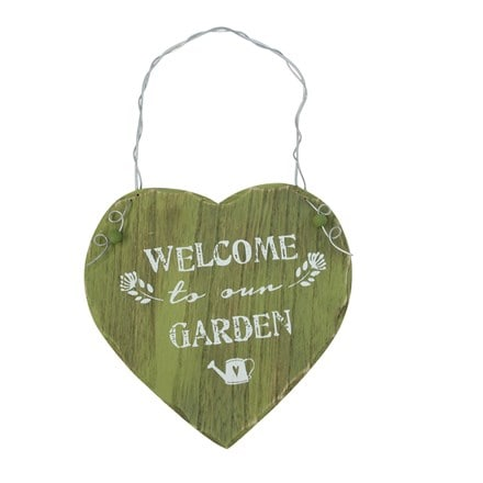 Green wood 'welcome to our garden' heart decoration