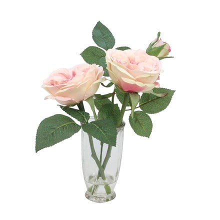 Artificial pale pink cabbage rose in vase