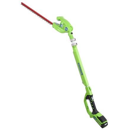 Cordless Greenworks G24PH51K2 24V long reach hedge trimmer