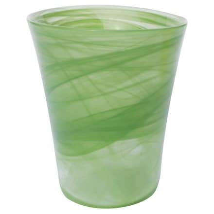 Recycled glass flared orchid pot -lime