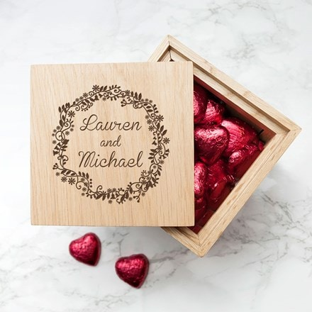Personalised romantic oak photo cube