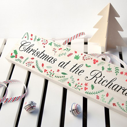 Personalised holly festive Christmas mantel decoration