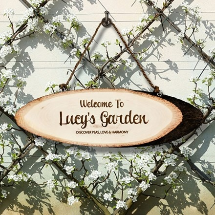 Personalised welcome to my garden wooden sign