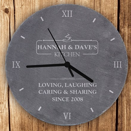 Personalised kitchen slate clock