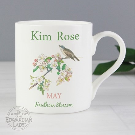 Personalised country diary 'May flower of the month' Balmoral mug