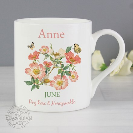 Personalised country diary 'June flower of the month' Balmoral mug