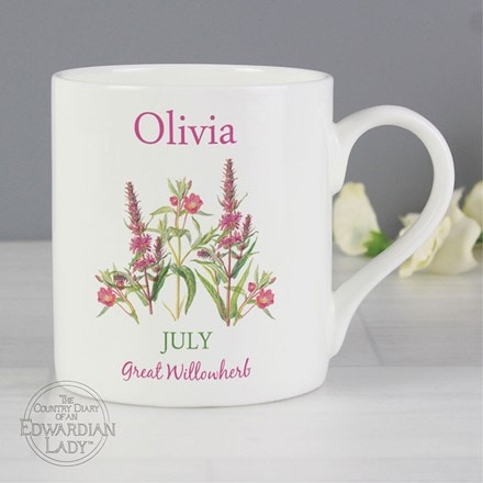 Personalised country diary 'July flower of the month' Balmoral mug