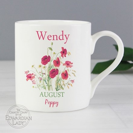 Personalised country diary 'August flower of the month' Balmoral mug