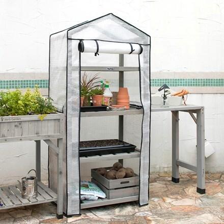 VegTrug wooden growhouse nursery & cover