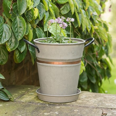 Planter with copper belt and tray
